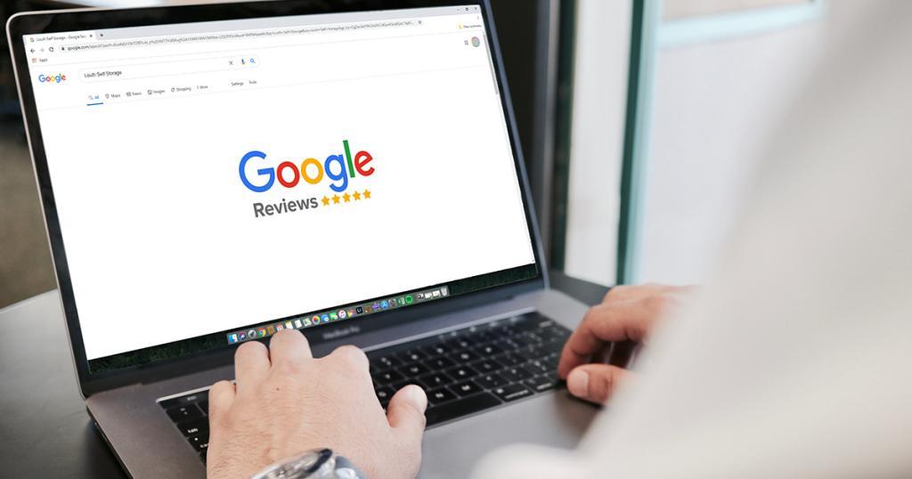 Laptop showing Google reviews