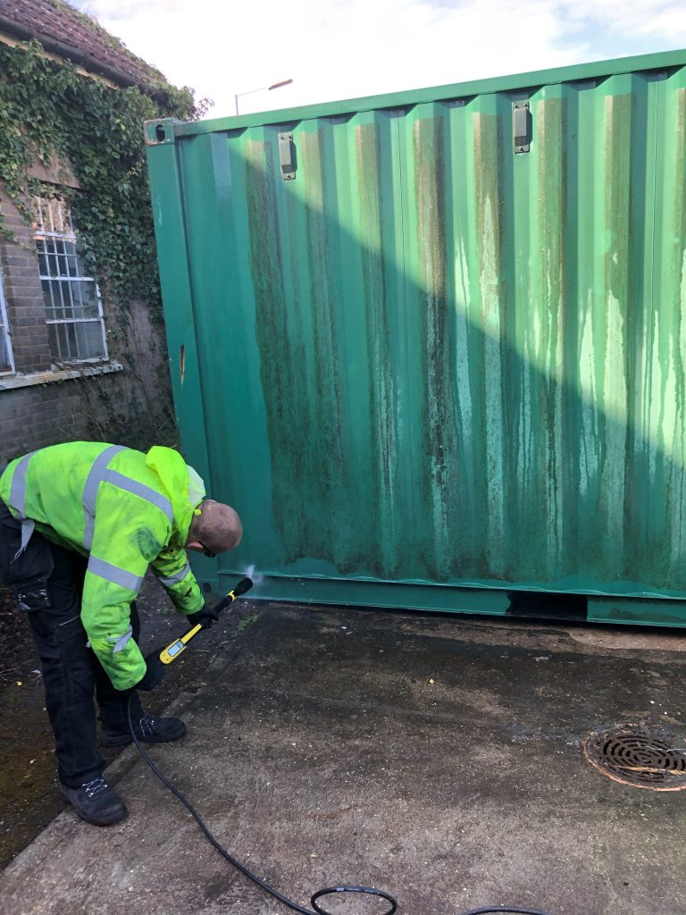 Self storage unit being cleaned