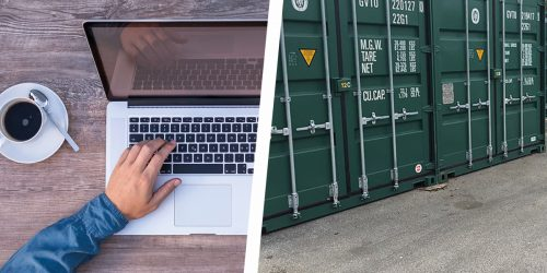 Small local business owner and storage containers